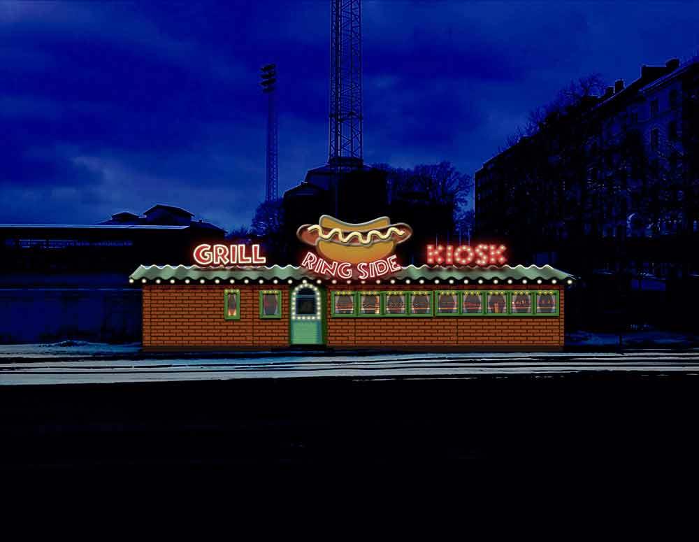 Visualisering av Zinkens kiosk, remake, natt.
