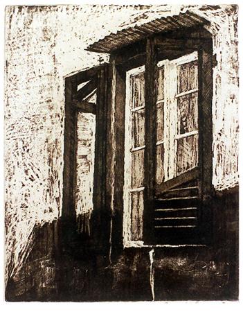 Italienskt fönster, akvatint, 1982