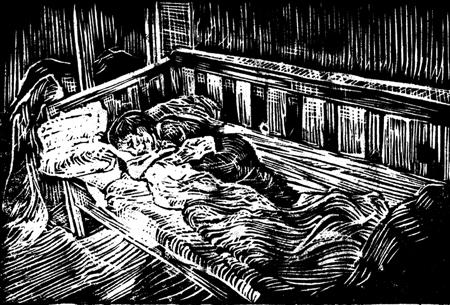 Max sover, 35 x 30, svartvitt linoleumsnitt