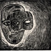 Teatermask, 50 x 50 cm, svartvitt linoleumsnitt på koppartryckspapper