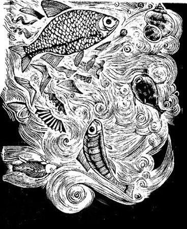 Fisk för animering, 35 x 50 cm, svartvitt linoleumsnitt på rispapper