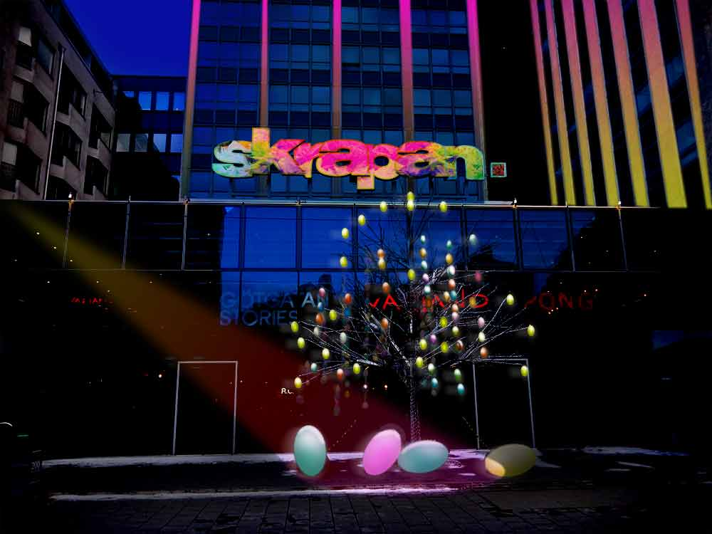 Visualisering av Skrapans exteriör för påskskyltning, natt.