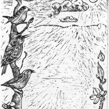 Småfåglar, 40 x 50 cm, svartvitt linoleumsnitt på rispapper
