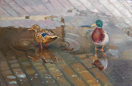 Andakt, olja på pannå, 60 x 40 cm