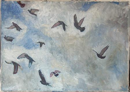 Duvslag, olja på duk, 100 x 70 cm