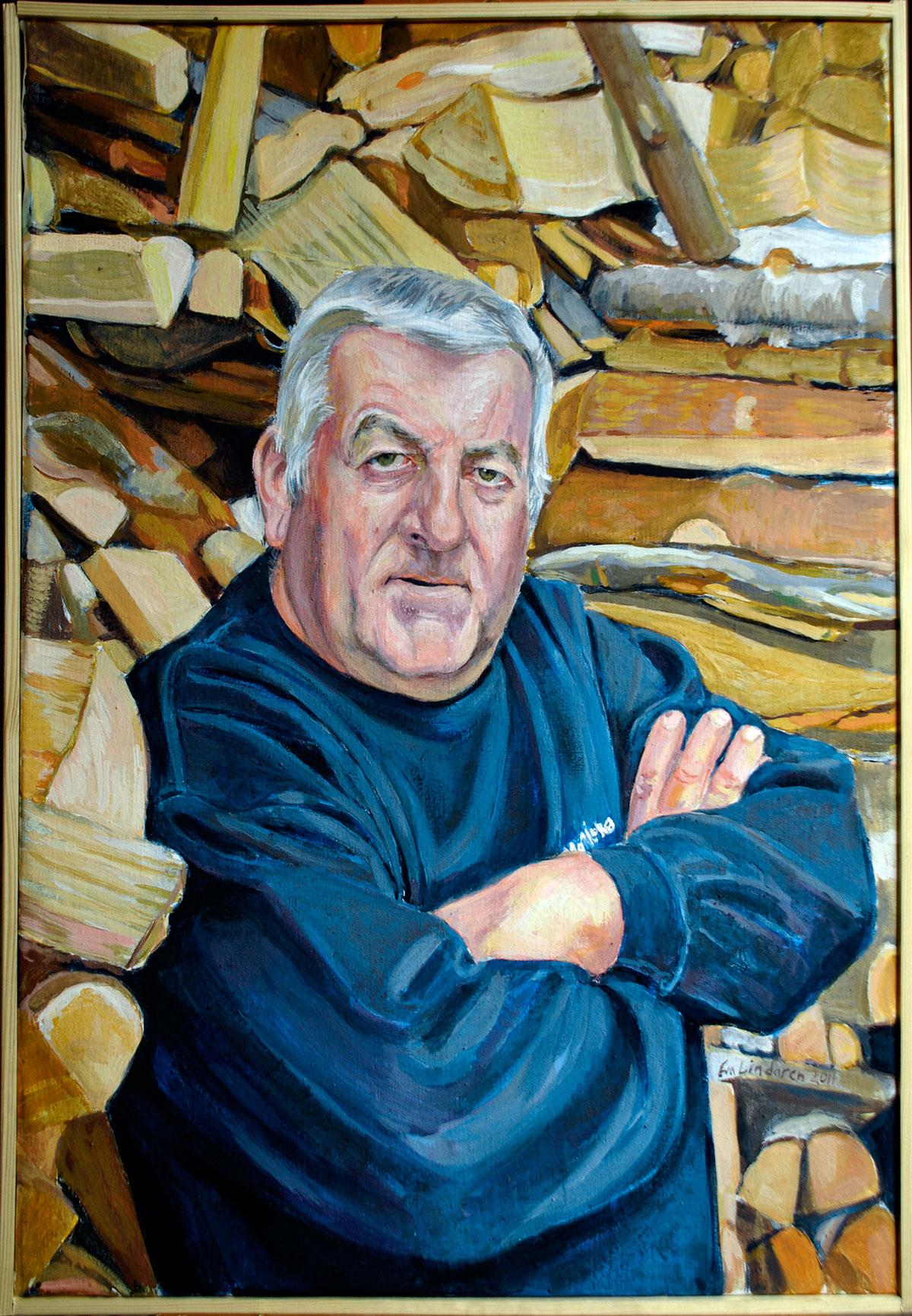 Veden bärgad, tempera på duk, 50 x 76 cm, 2011