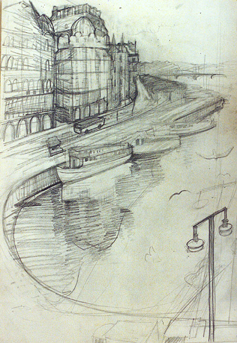Blyertsteckning, sketch