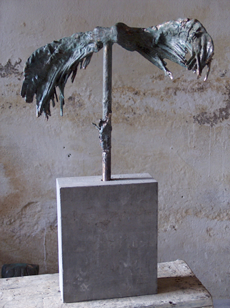 Ikaros minne, brons på marmorsockel. Remembrance of a friend who flew to high and got her wings melted, sculpture in bronze, cire perdue, the artists own casting.