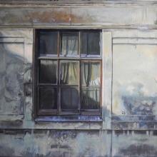 Gammalt fönster, tempera på duk, 110 x 86 cm, 2012