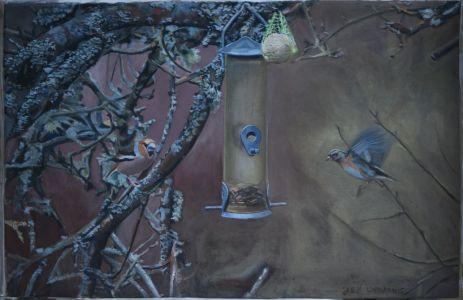 Celebert besök, äggoljetempera på duk, 82 x 56 cm