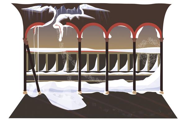 Scen IV, naturen regerar, bild på ett insnöat tak med fotspår i snön