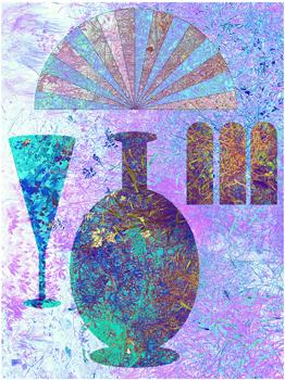 MingTing, en bild av enkruka, ett glas, en solfjäder och tre fönster fyllda med färg och grönska
